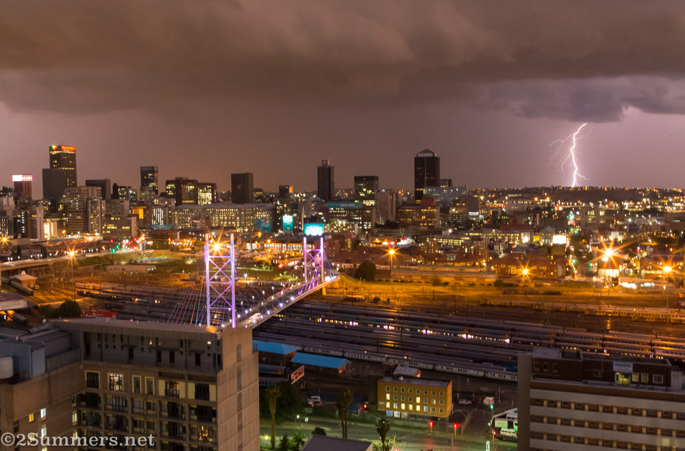 Lightning strike over Joburg, seen from Randlords