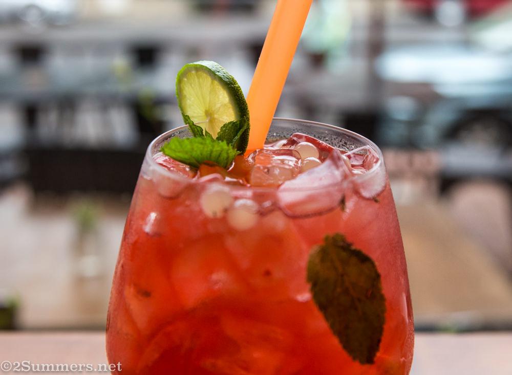 Strawberry bubble tea drink
