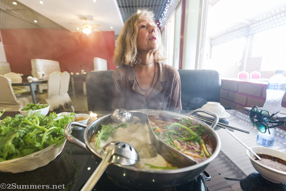Marie-Lais with Chinese hot pot