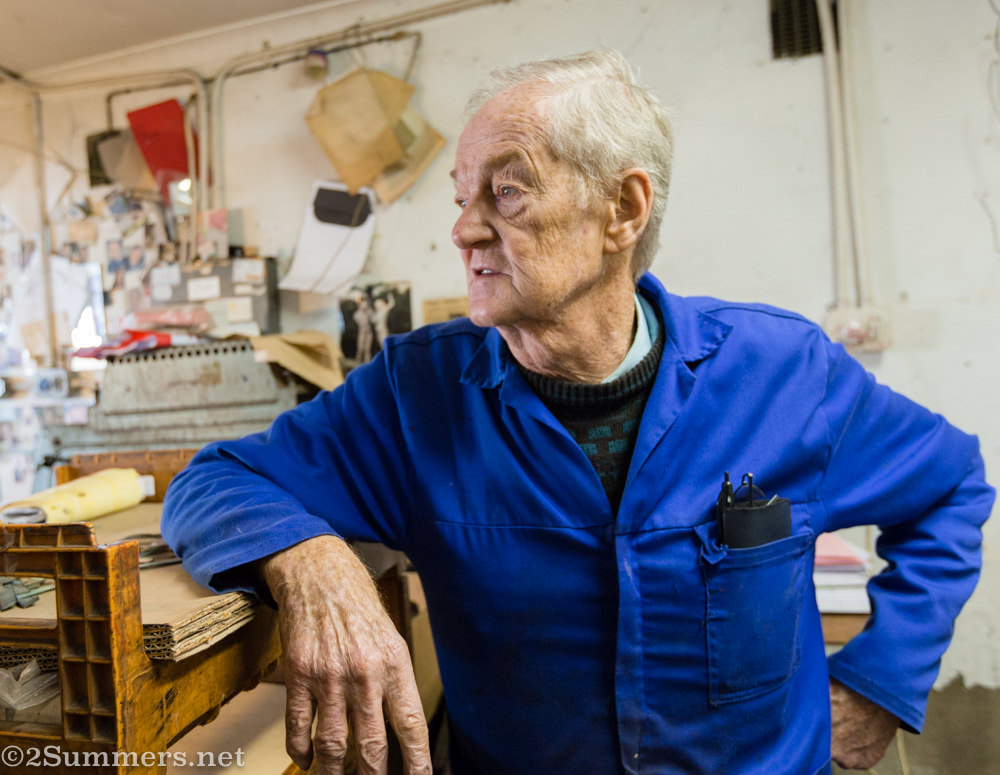 Ted sheasby in his shop in Malvern