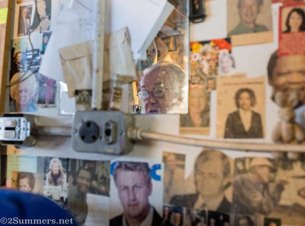 Ted's walls and newspaper clippings