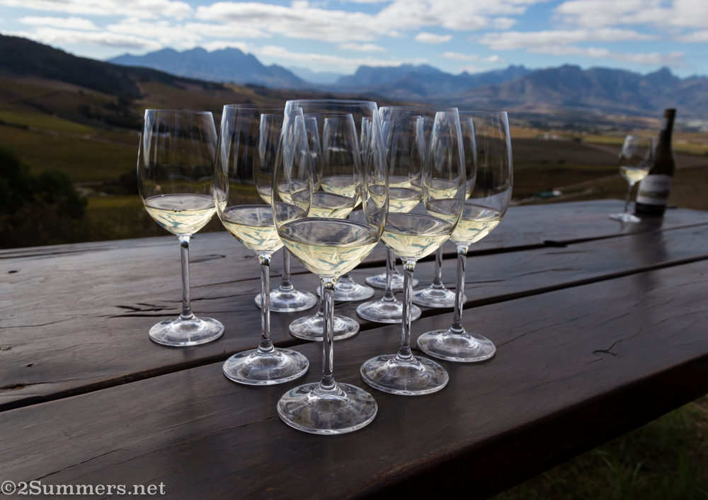View and wine glasses at Jordan Wines in Stellenbosch