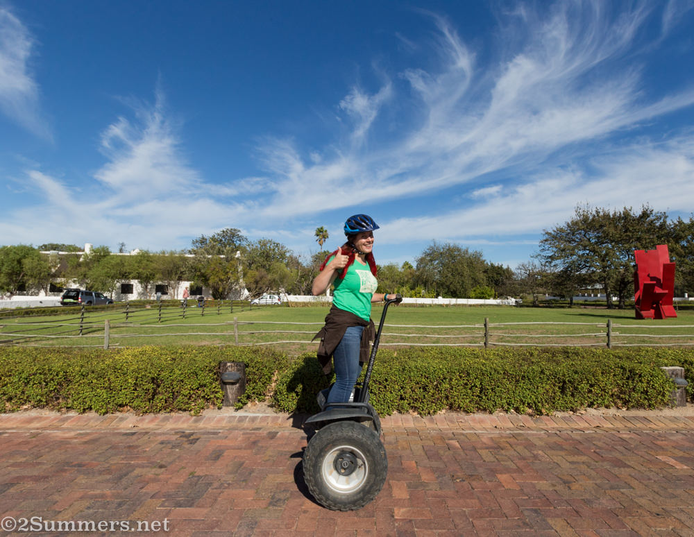 Heather on a Segway at Spier