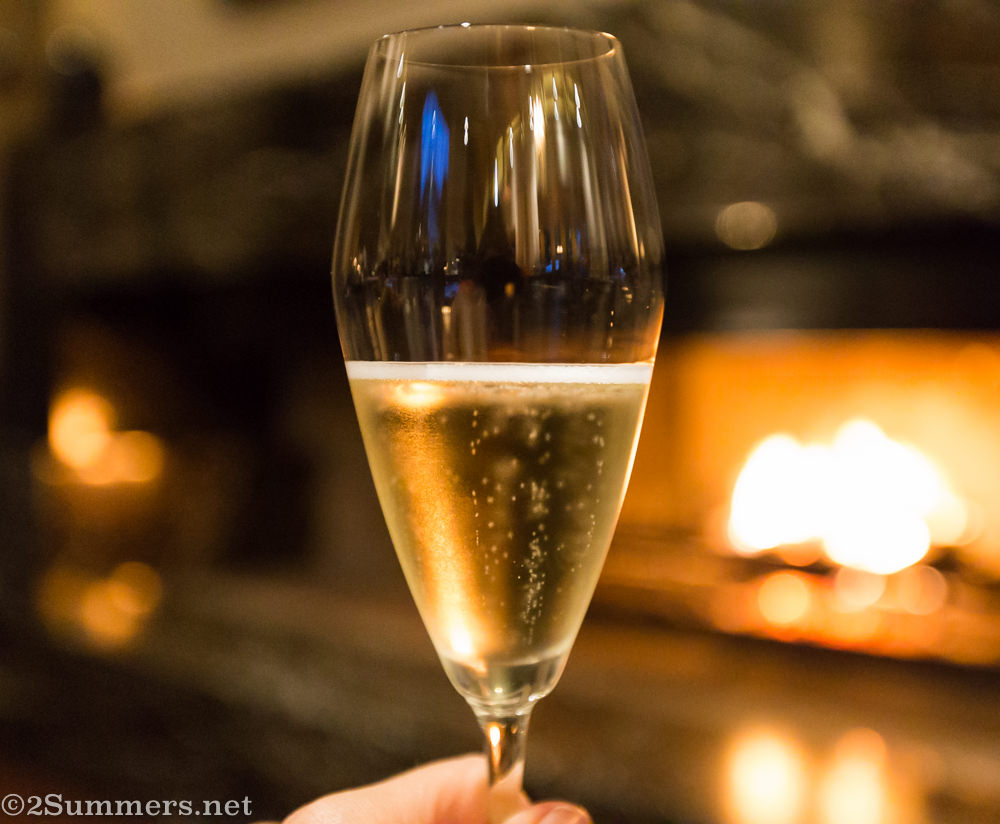 Glass of bubbly at Delaire Graff