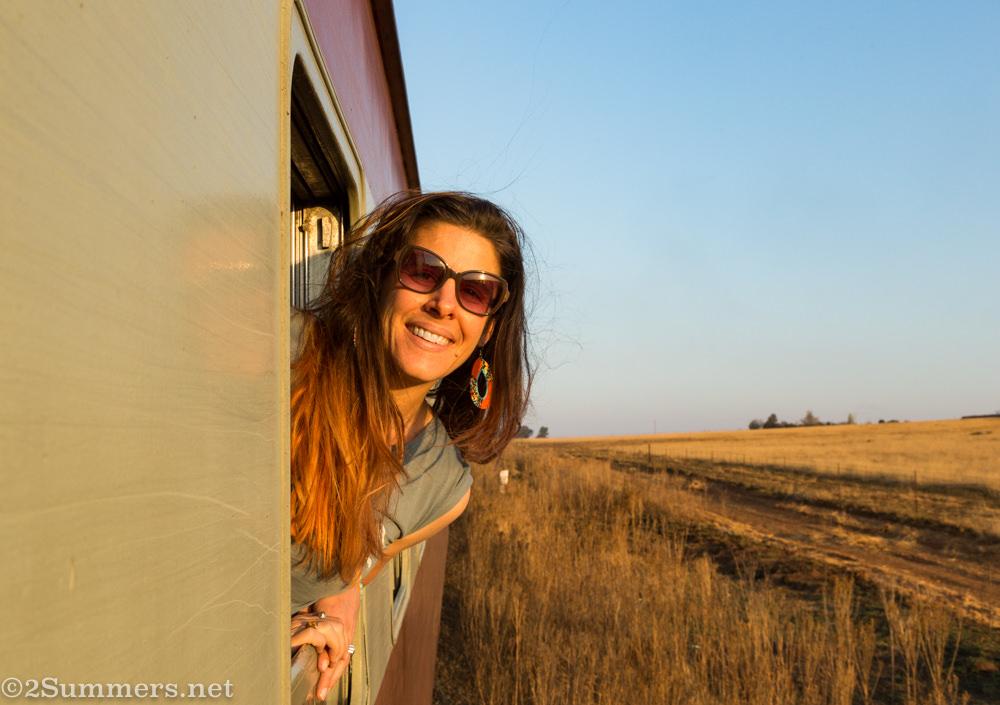 Heather on the steam train