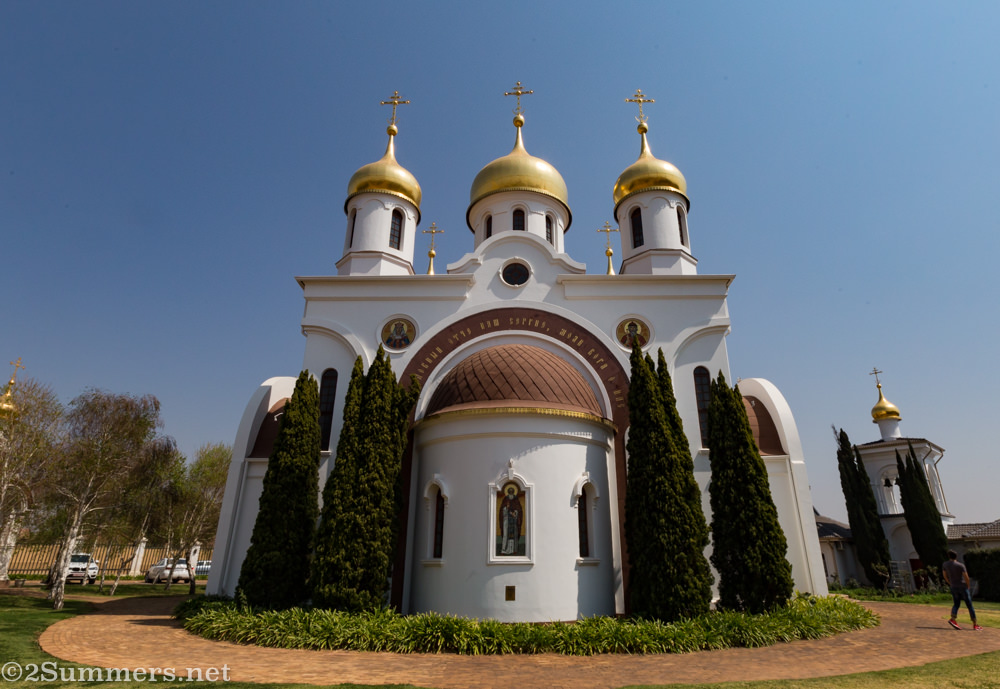 Outside the Russian Orthodox Church of St. Sergius