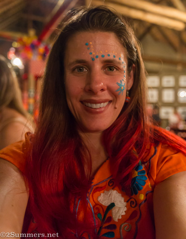 Heather with face painted at Chief's Boma restaurant