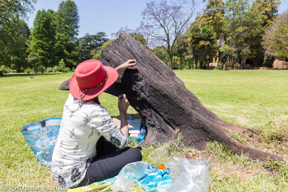 Anni Snyman making land art