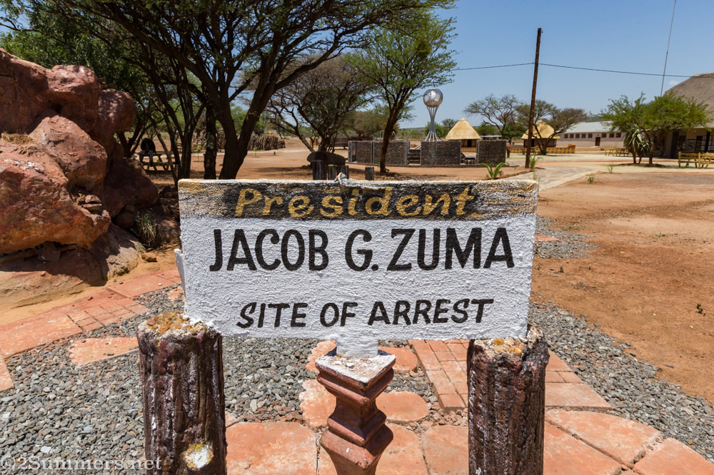 Jacob Zuma site of arrest sign