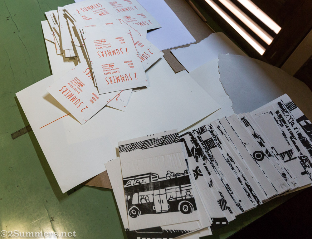 Printed cards in progress