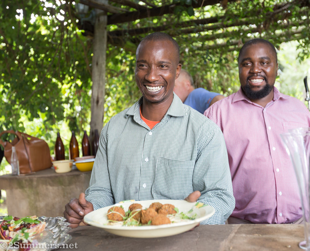 Serving canapés at Brightside Farm