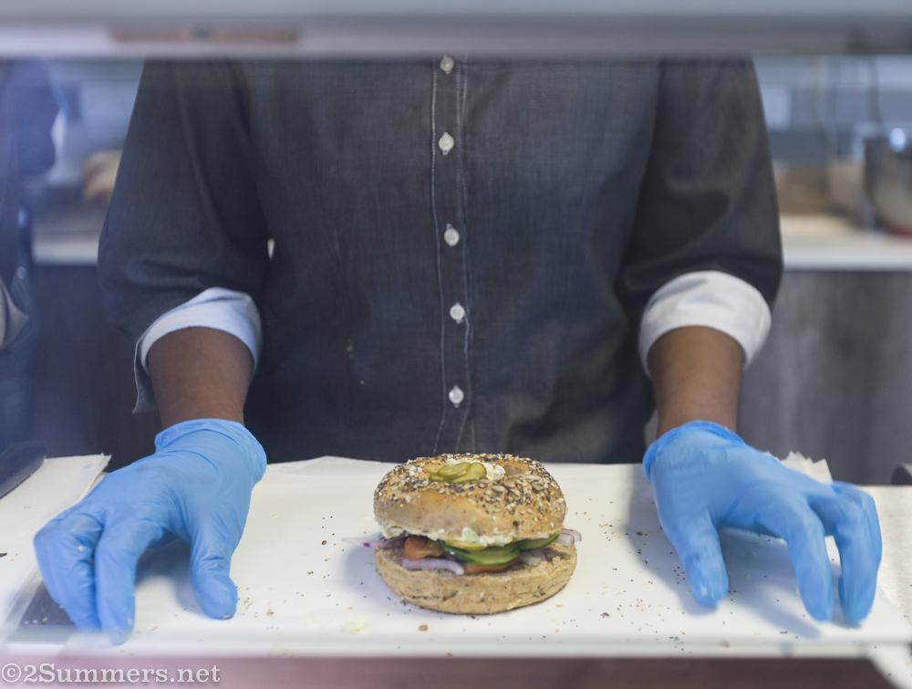Bagel sandwich in progress