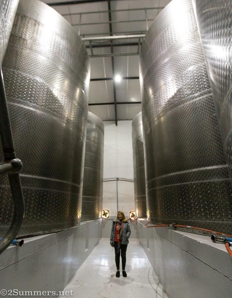 Mom and wine vats