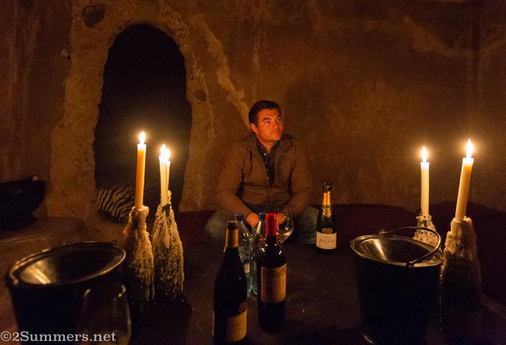 Underground wine tasting