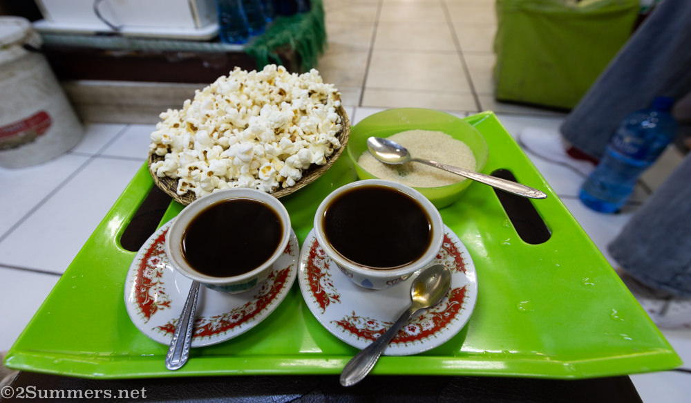 Ethiopian coffee and popcorn