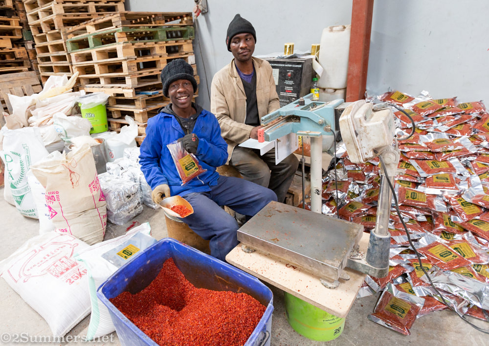 Employees packing atchar spice