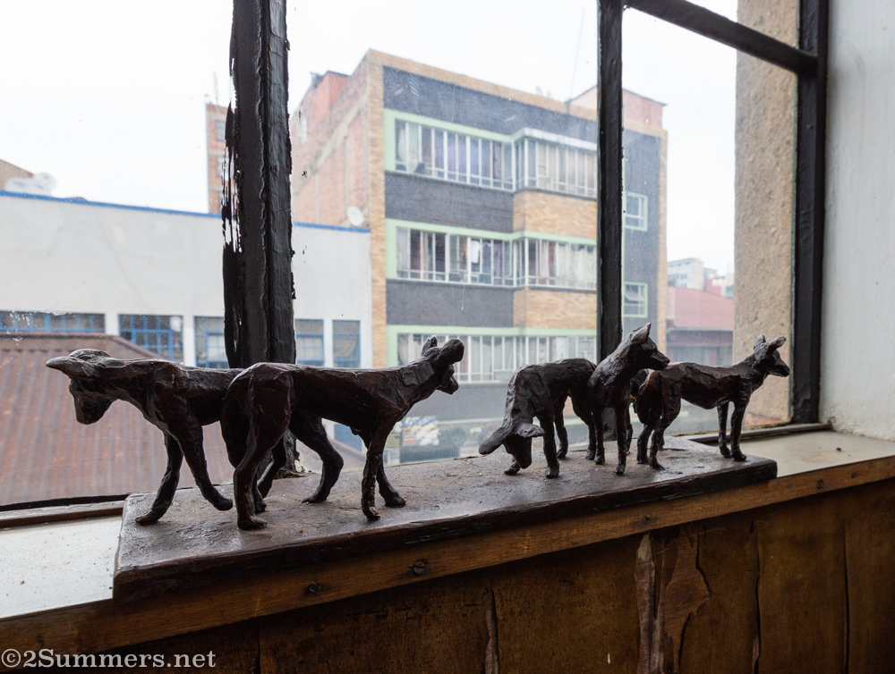 Bronze sculptures in the window at the Workhorse Foundry in downtown Joburg