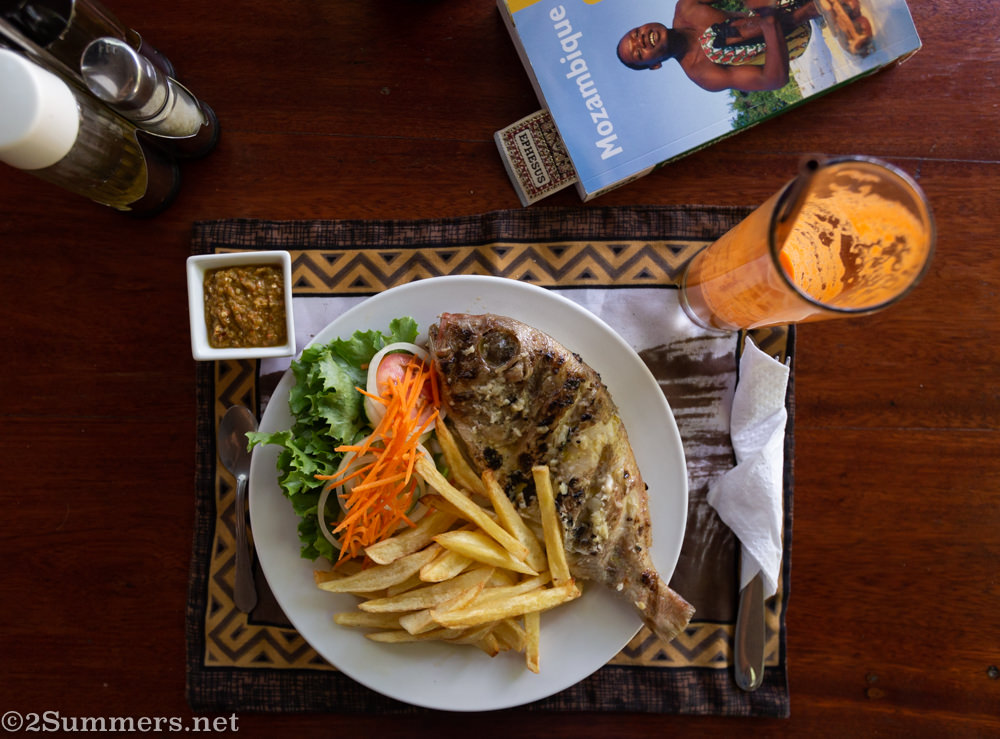 Whole grilled fish at FEIMA in Maputo