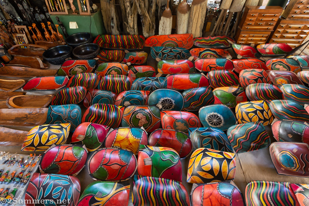 Wooden bowls for sale at FEIMA in Maputo