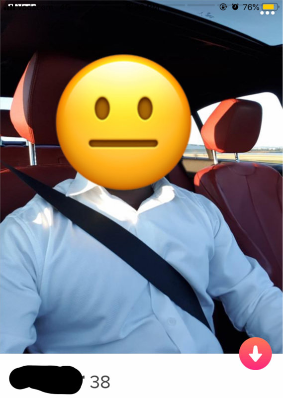 Tinder profile man in car