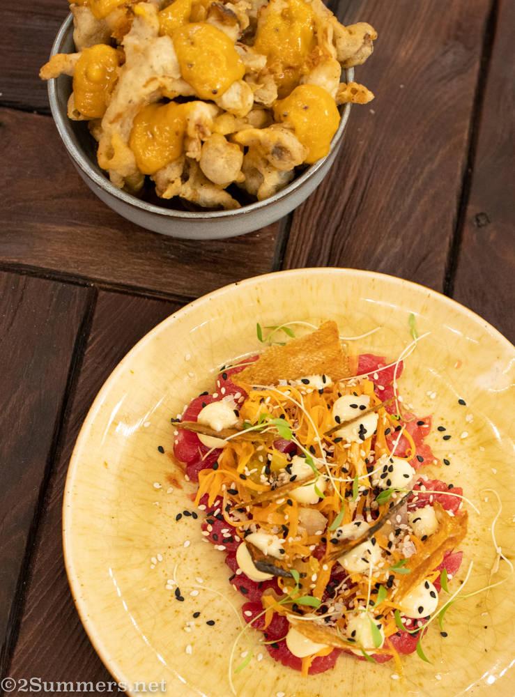 Mushroom tempura and trout sashimi from Urbanologi