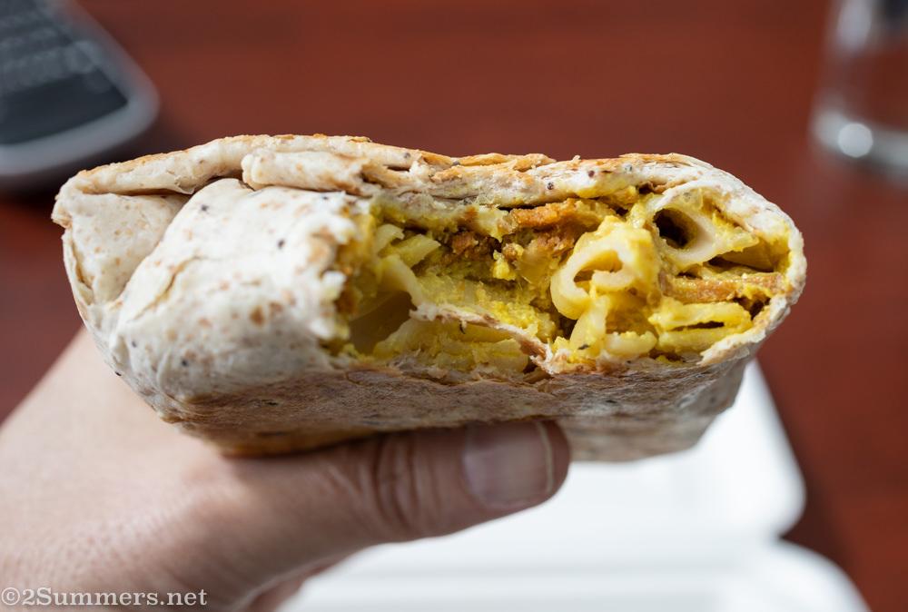 Mac-and-cheese burrito from the Fussy Vegan.