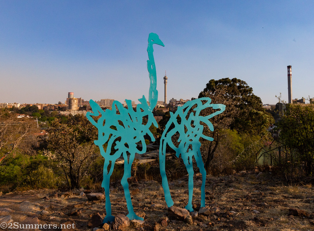 Ostrich sculptures at the top of the Wilds