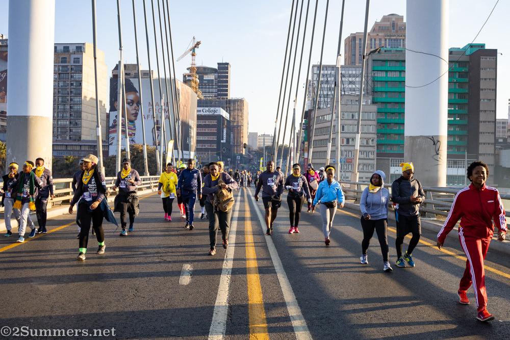 Walking on Nelson Mandela Bridge