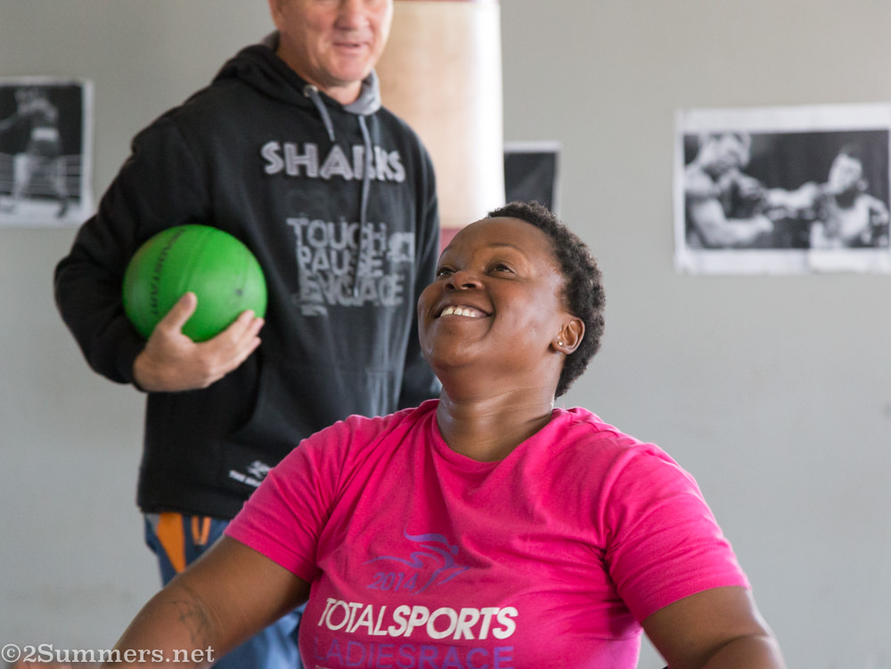 Athlete Deejay Manaleng training with her coach, Boetie Lourens