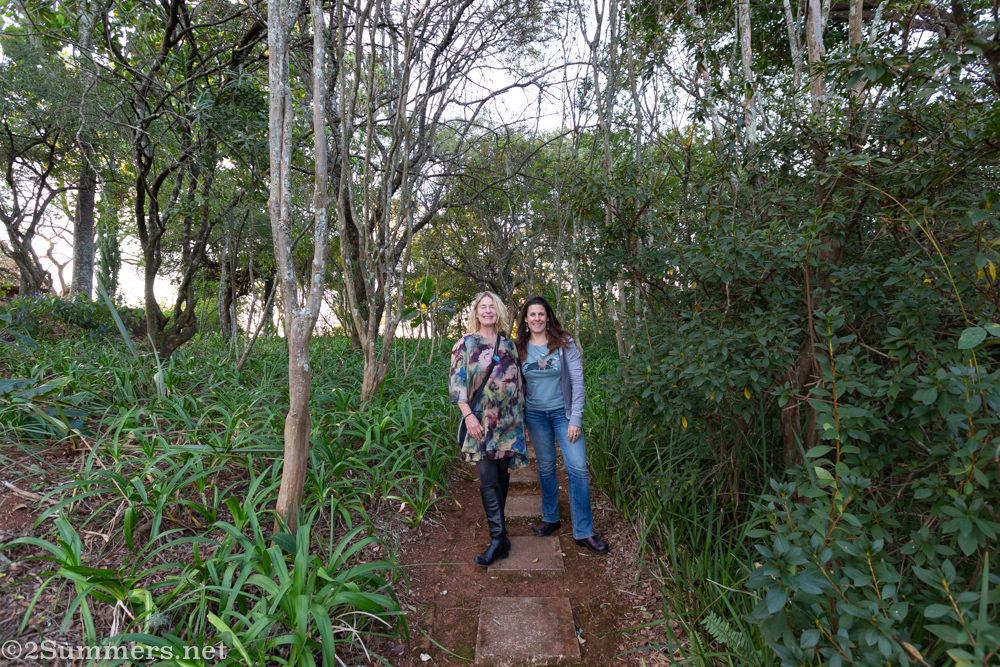 Heather Mason and Bridget Hilton-Barber in the garden.