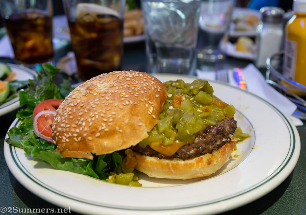 Green chile cheeseburger from the Plaza restaurant in Santa Fe
