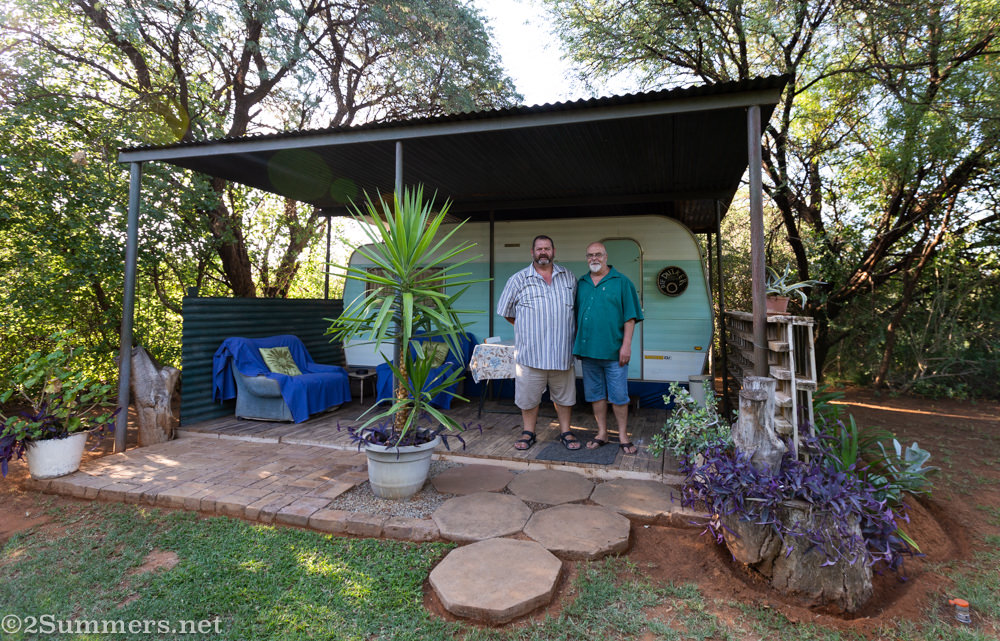 """Converted """"campovan"""" at Kameel Rust and Vrede with Hercules and Patrick outside"""