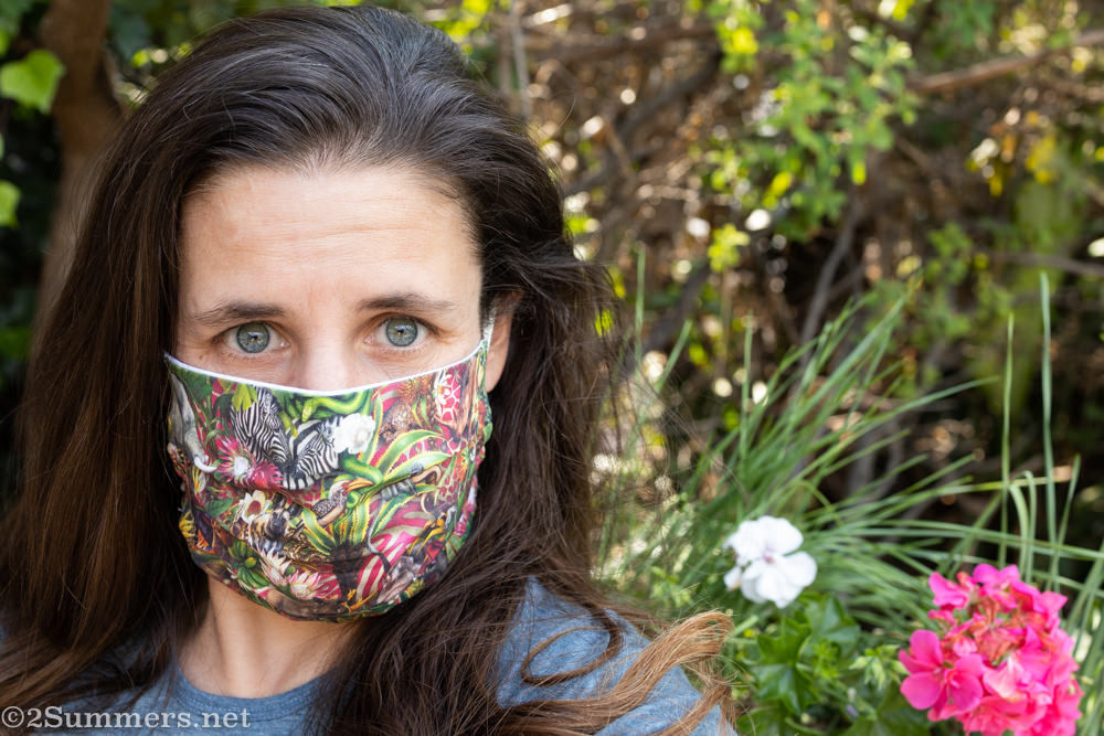 Heather wearing the African jungle mask