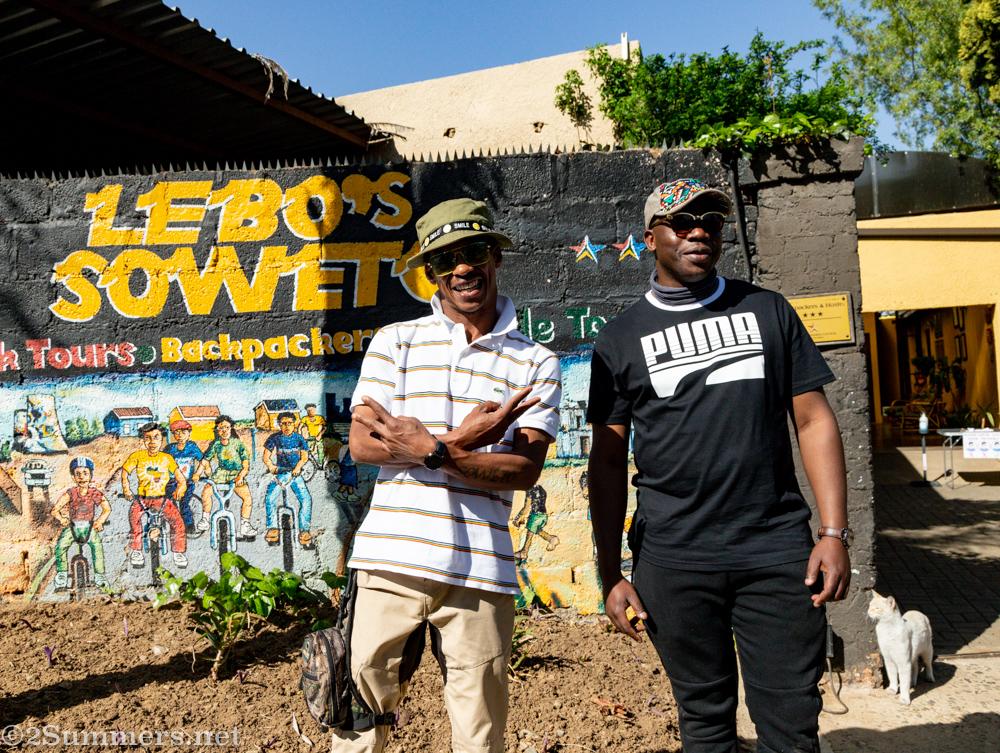 Lebo and Bongani at the backpackers