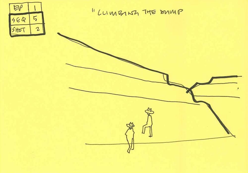 Thorsten's sketch of climbing the mine dump