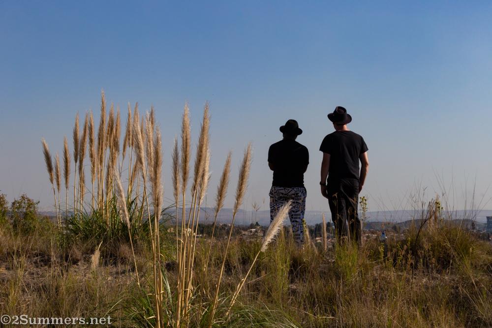 Tebogo and Thorsten on the mine dump