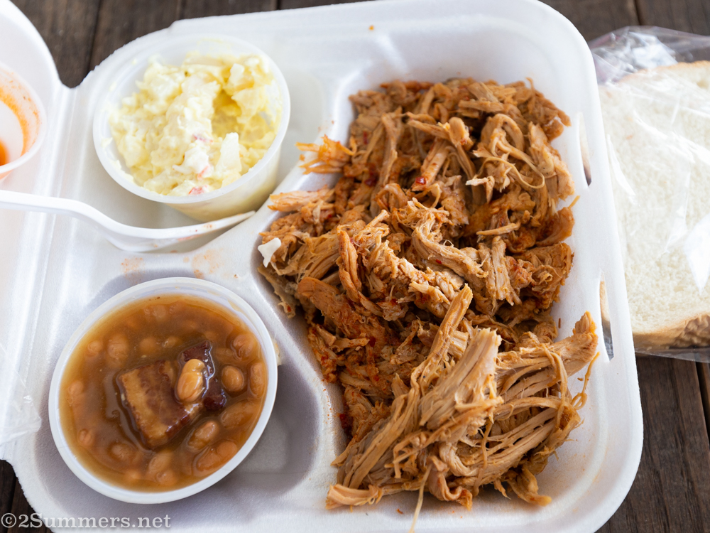 Pulled pork barbecue platter from Scott's Barbecue in Hemingway, South Carolina