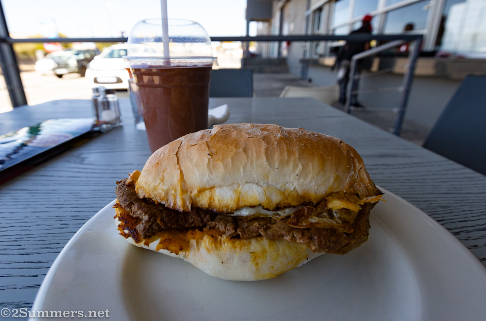 Portuguese prego roll with egg and a milkshake from Senhor Galo's