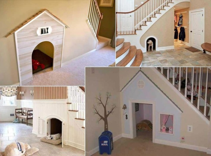 These doggies have their very own doggy hide-out under the stairs!
