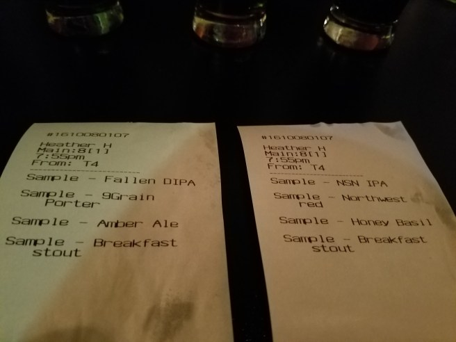 Here is the list of our beers. Mine is on the left and Jessica's is on the right. Her beers are in the background.