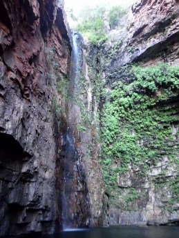 The 120 metre high waterfall at the head of the gorge.