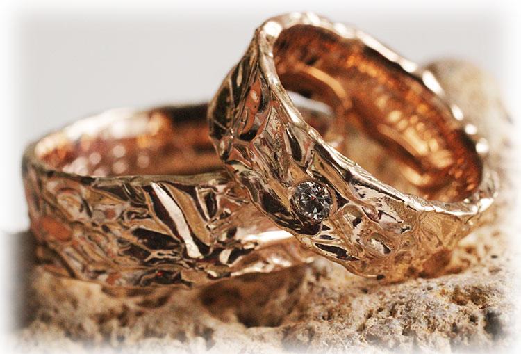 Gehmmerte Trauringe IM223 mit Diamanten aus Rosegold