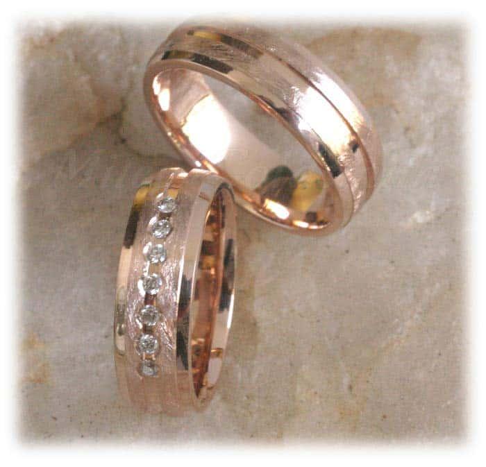 TrauringeEheringe IM307 7 Diamanten  015K Rotgold