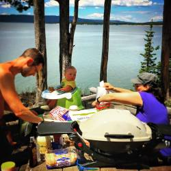 Chris Taylor BBQing on Yellowstone Lake 1