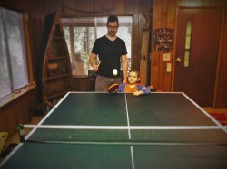 Chris Taylor and LittleMan Ping Pong Cabin