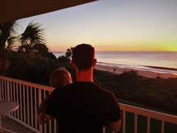 Chris Taylor and TinyMan at Sunrise at King and Prince Resort St Simons GA 2traveldads.com