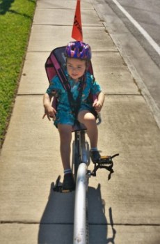 LittleMan on bike seat Biking St Simons Island GA 1