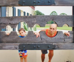 Rob Taylor and LittleMan in Stocks at Pirate Museum St Augustine Florida 2