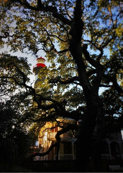 St Augustine Lighthouse through the trees 2traveldads.com