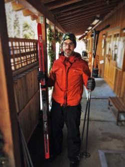 Chris Taylor and Cross Country Skis at at Sleeping Lady Resort Leavenworth WA 1
